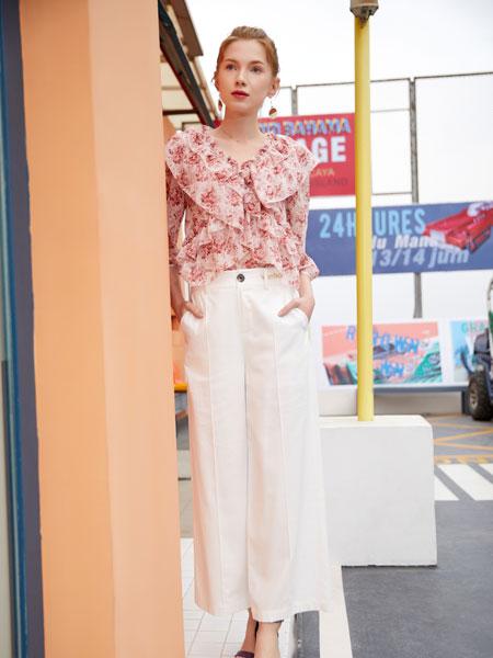 金蝶茜妮女装品牌2020春夏新款纯色碎花气质上衣