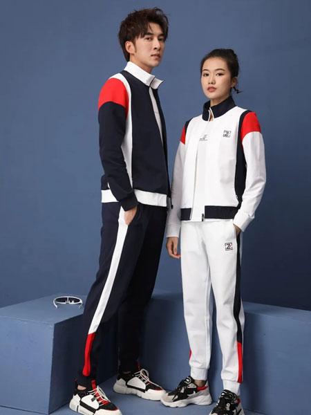 比森战狼2020春夏拼接色长款情侣运动套装