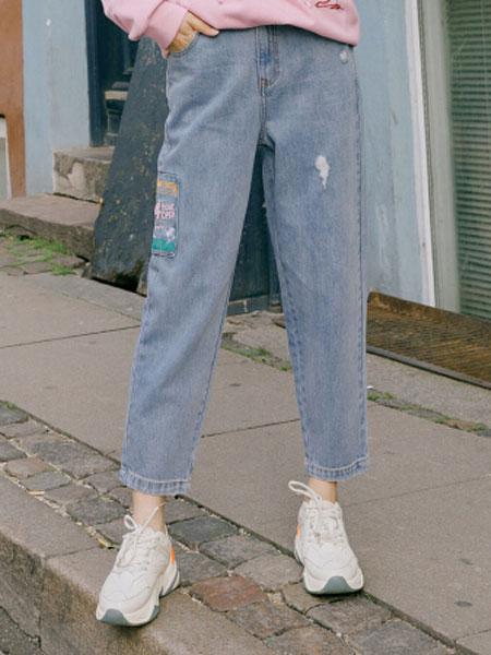 茵曼2020春装新款纯棉宽松磨破时尚个性休闲运动牛仔裤