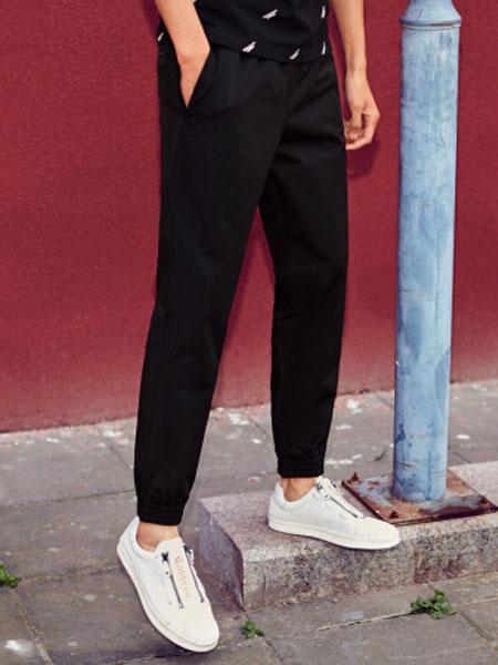 卡宾男装春季新款黑色简约休闲裤街头小脚束脚潮流运动裤子