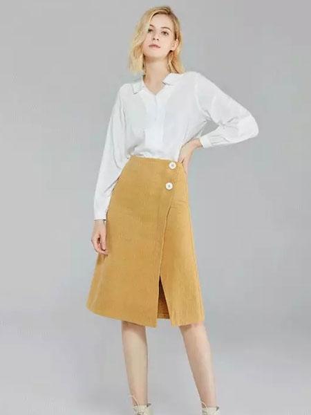蓝珣Helen Moda女装品牌2020春夏新款纯色纽扣裙