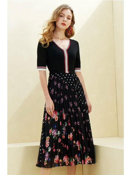 若岚菲女装品牌2020春夏新款针织连衣裙