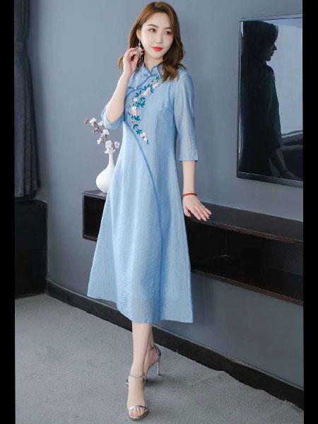 千唐绣女装品牌2020春夏新款纯色复古刺绣连衣裙