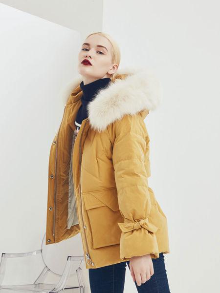 伊纱贝莲JSAPUILIN女装品牌2019秋冬装黄色羽绒衣