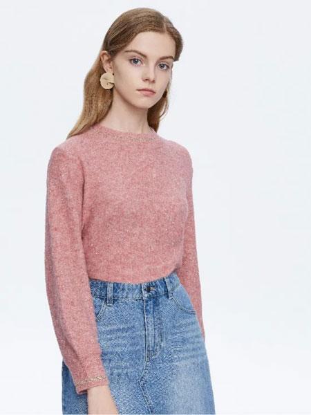 Eichitoo爱居兔女装品牌2020春夏新款粉色长袖针织衫