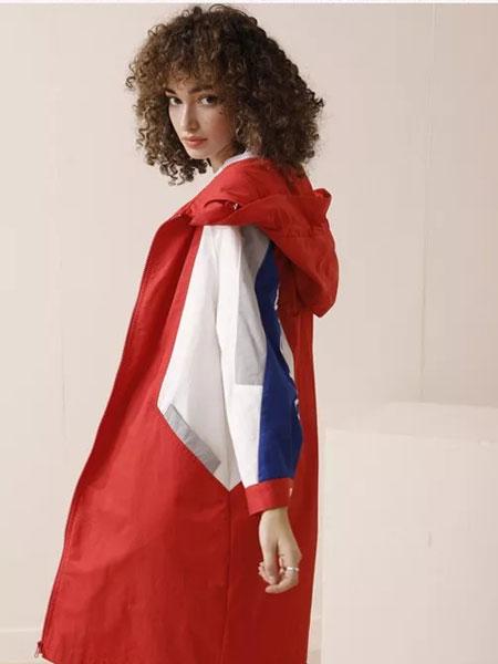 法尔莎女装品牌2020春夏新款拼接色带帽长外套