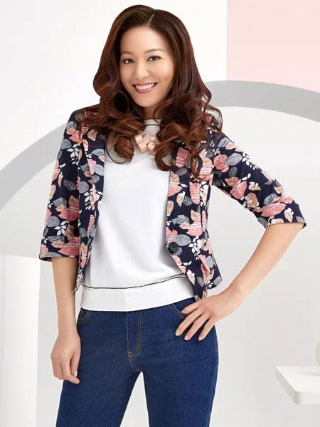 吉蒂女装品牌2020春夏新款纯色碎花外套