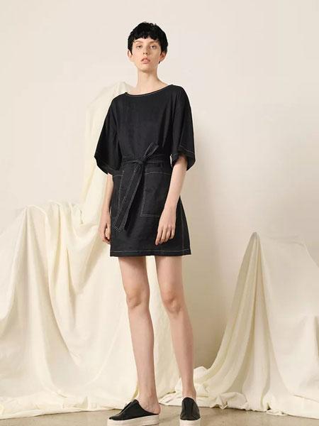 柯妮丝��女装品牌2020春夏新款纯色气质系带式连衣裙