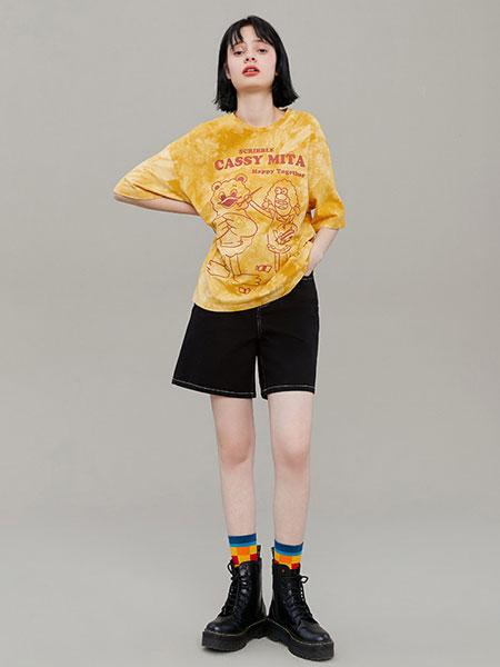 阔色kuose女装品牌2020春夏新款韩版女装时尚扎染T恤宽松短袖卡通印花上衣