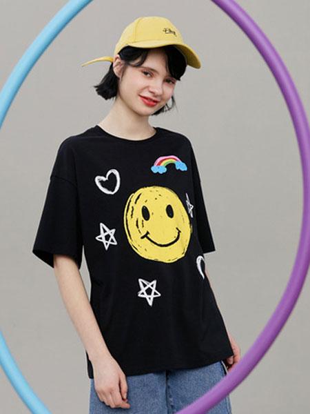 阔色kuose女装品牌2020春夏新款韩版女装学生宽松短袖黑色上衣