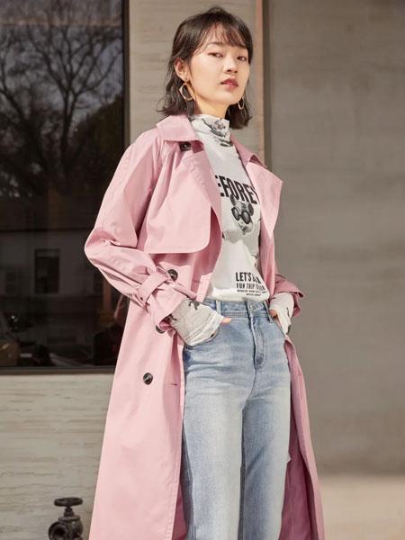 真我永恒女装品牌2020春夏新款纯色纽扣气质风衣