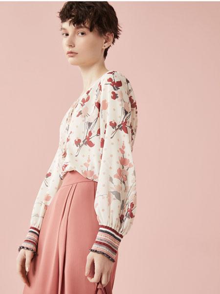 Rhema女装品牌2020春夏新款新款雪纺小衫女气质圆领印花衬衫上衣