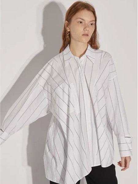 Basic House百家好女装品牌2020春夏新款纯色条纹v领气质衬衫