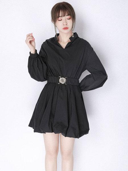 JOU SEO MOK女装品牌2020春夏新款纯色真丝性感连衣裙