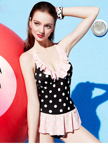 芬狄诗女装品牌2020春夏新款复古波点裙式显瘦遮肚连体温泉游泳衣