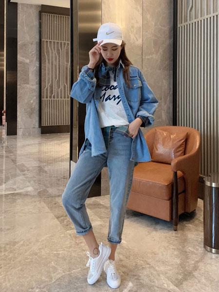 拉格蓓芮女装品牌2020春夏新款纯色气质翻领牛仔外套