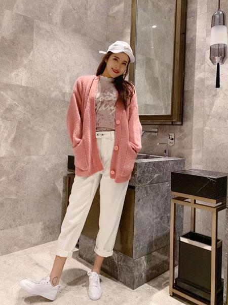 拉格蓓芮女装品牌2020春夏新款纯色气质开衫