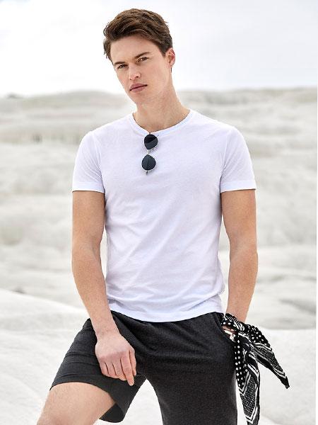 九牧王男装短袖T恤2020春夏新款纯色青年针织男士修身圆领T恤
