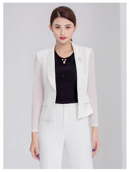 迪丝爱尔女装品牌2020春夏新款时尚短款白色条纹外套