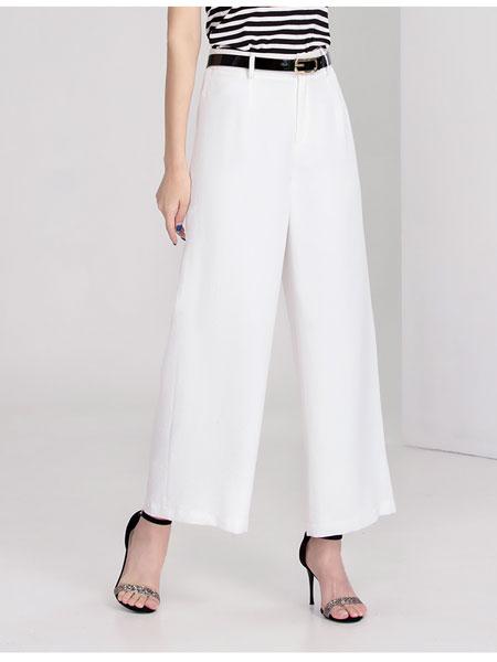 迪丝爱尔女装品牌2020春夏新款休闲白色直筒裤