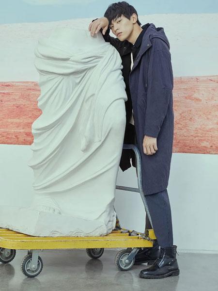 写生男装品牌2020春夏新款艺术印花连帽风衣