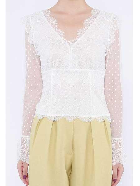 欧点女装品牌2020春夏新款蕾丝上衣长袖