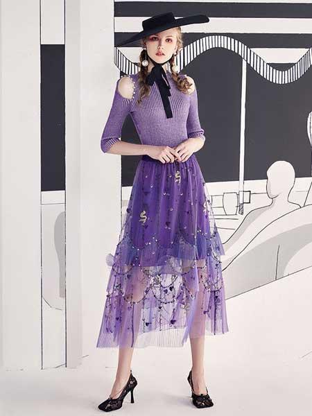 欧点女装品牌2020春夏梦幻紫色伞裙