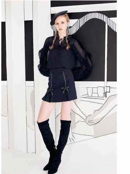 欧点女装品牌2020春夏新款黑色显身材短裙