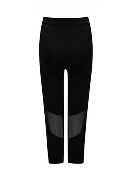 古今中腰裤腿两侧拼接装饰运动长裤新款纯色薄款七分裤