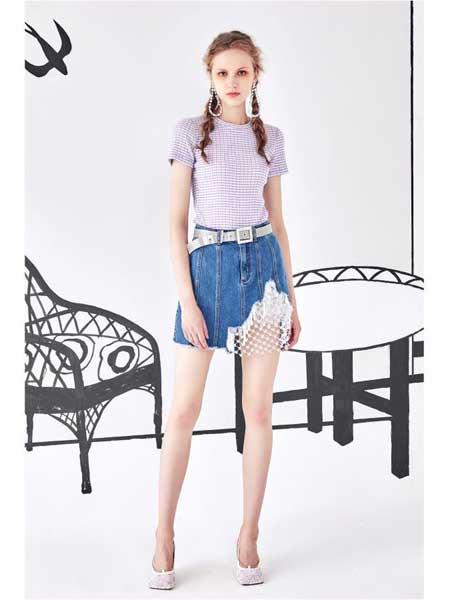欧点女装品牌2020春夏新款牛仔短裙