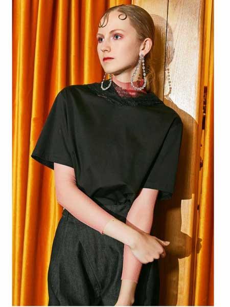 欧点女装品牌2020春夏新款黑色短袖