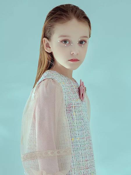 瑞比克童裝品牌2020春夏新款毛呢透紗連衣裙