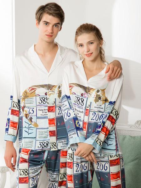 女人心内衣品牌2020春夏新款纯色印花家居服情侣款