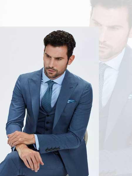 乔顿男装品牌2020春夏羊毛桑蚕丝商务正装气质蓝格子小西装