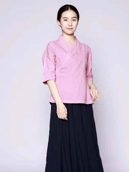 照本堂女装品牌2020春夏新款纯色复古中袖上衣