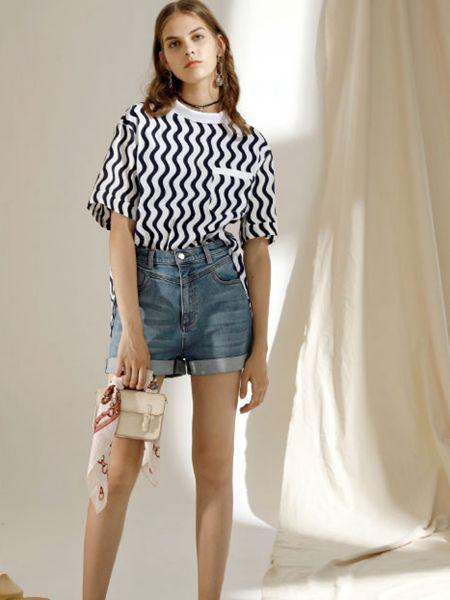 西蔻女装品牌2020春夏新款纯色条纹简洁短袖上衣