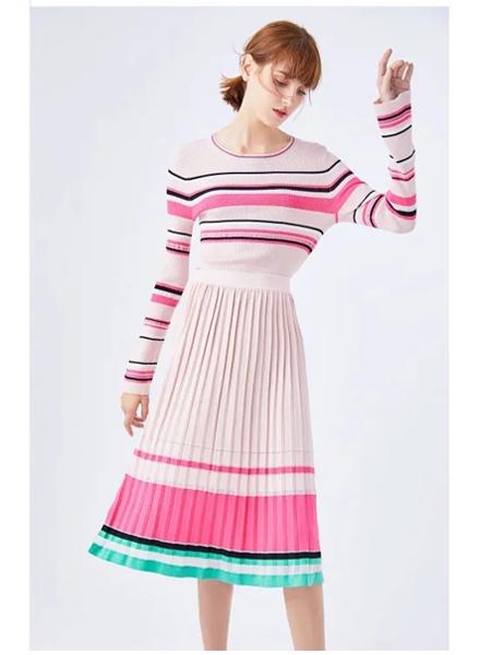 圣奇融羊绒女装品牌2020春夏新款褶皱半身裙