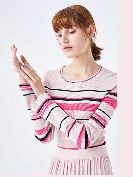 圣奇融羊绒女装品牌2020春夏新款纯色条纹长袖