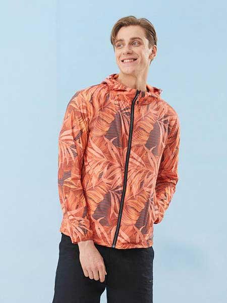 思凱樂休閑品牌2020春夏新款落葉印花防紫外線風衣