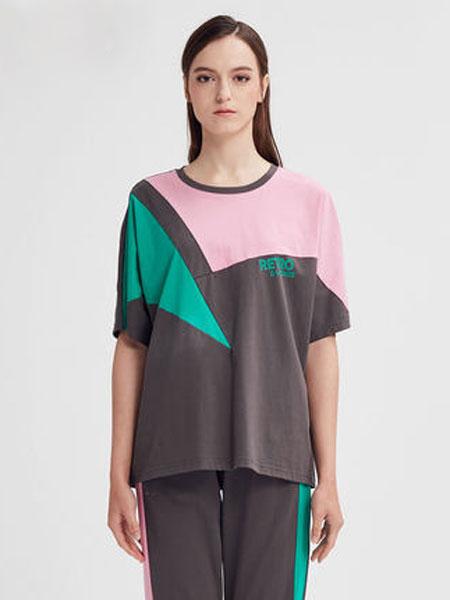 水淼大码女装2020新款夏装胖mm洋气宽松显瘦圆领拼贴短袖T恤