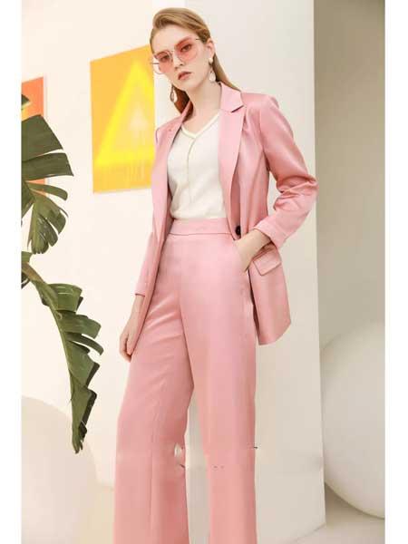 珞娜女装品牌2020春夏新款粉色修身小西装外套