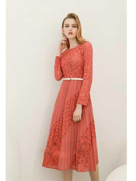 珞娜女装品牌2020春夏新款蕾丝碎花修身长袖连衣裙