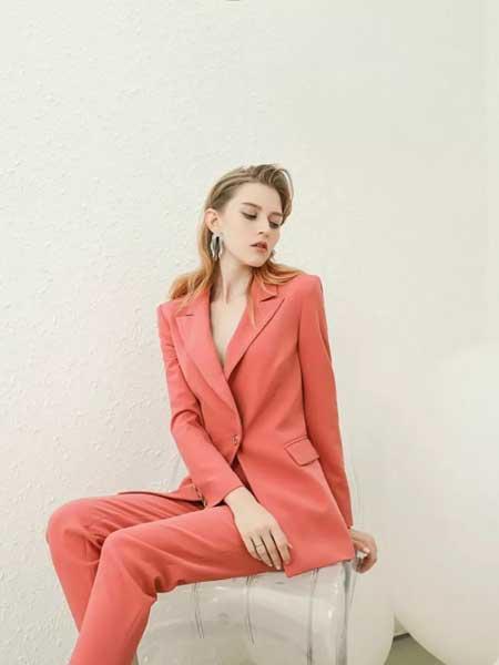 珞娜女装品牌2020春夏新款红色V领修身小西装外套