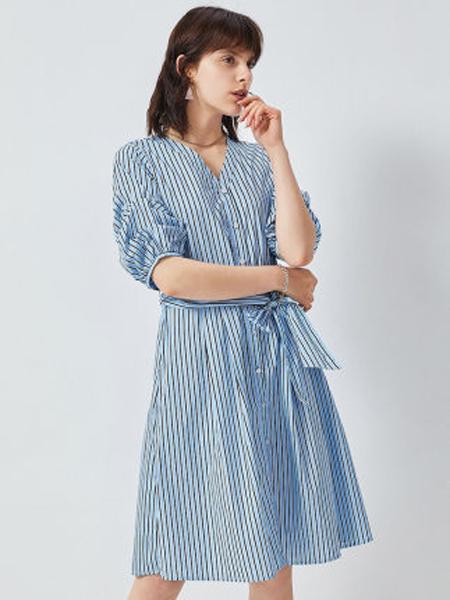 minette夏季新品连衣裙高端气质条纹长裙