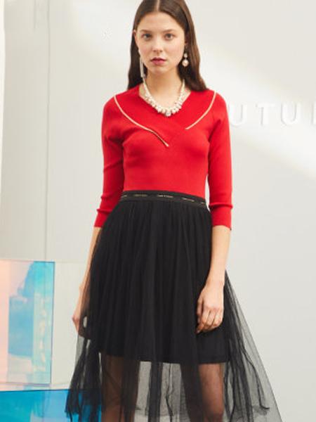 minette春季新品女新款长袖修身显瘦雪纺针织连衣裙