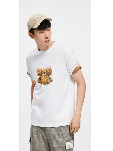 cabbeenurban卡宾都市男装品牌2020春夏新款小熊印花简约时尚短袖