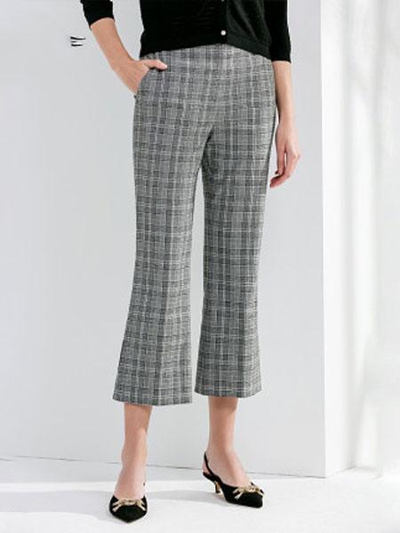 ELLASSAY歌力思2020春夏新款 双色通勤简约喇叭裤西装裤女