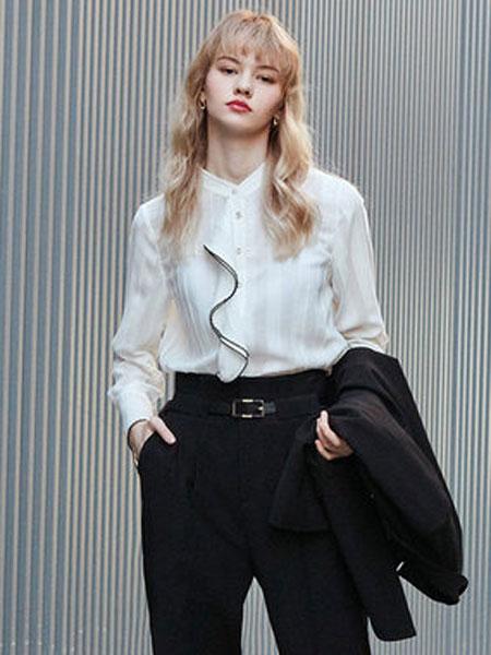 洛可可2020春装新款气质通勤荷叶边衬衫女