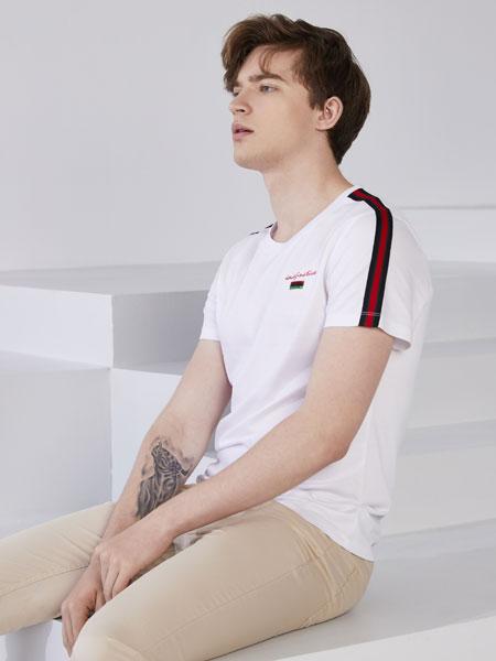 圣吉奥男装品牌2020春夏新款纯色小标气质短袖上衣