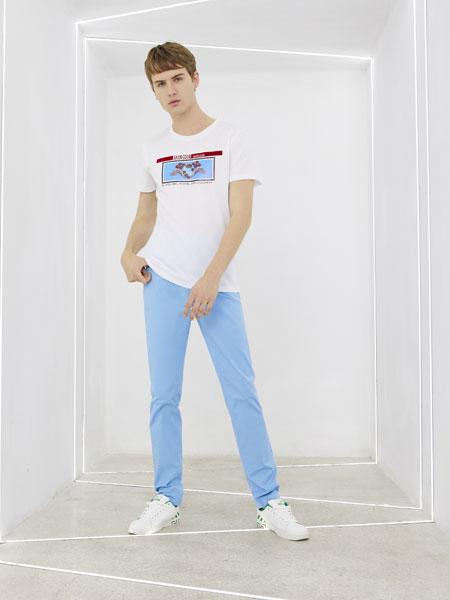 圣吉奥男装品牌2020春夏新款纯色气质图案短袖上衣